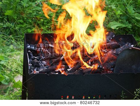 Fire In Barbecue, Closeup
