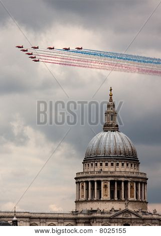 The Red Arrows Above St. Paul's Cathedral, London, Uk