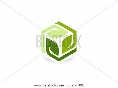 cube leaf vector logo design