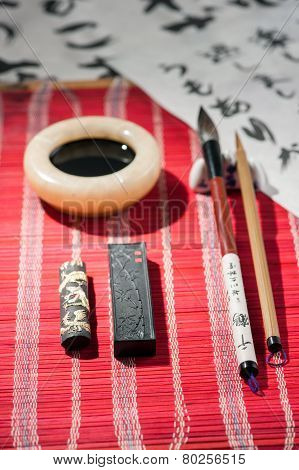 Calligraphy tools on the table