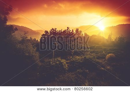 Mountains Sunset Scenery