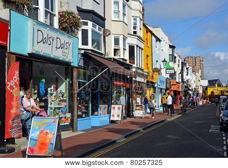 Tourists Shopping In The Famous Brighton North Laines.