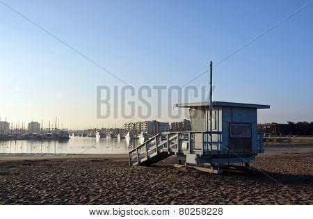 Life Guard Hut At Marina Del Rey Beach, Los Angeles, Usa.