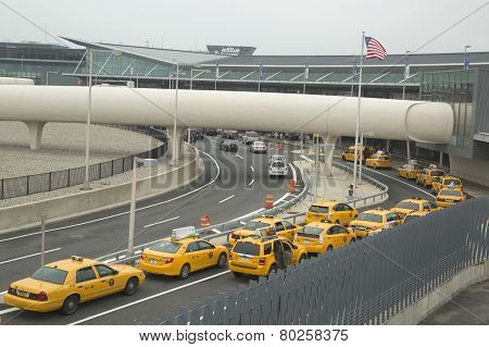 New York Taxi line next to JetBlue Terminal 5 at John F Kennedy International Airport
