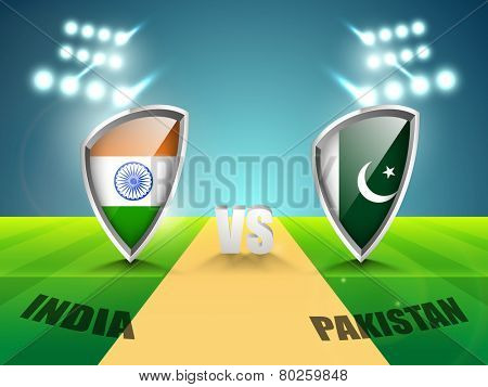 India vs Pakistan Cricket Match concept with their countries flag shield shining in stadium lights.