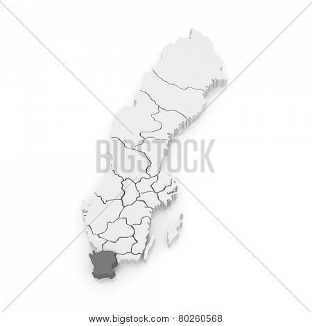 Map of Skane. Sweden. 3d