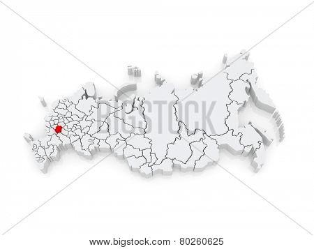 Map of the Russian Federation. Tambov region. 3d
