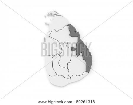 Map of Eastern. Sri Lanka. 3d poster