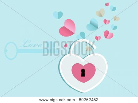 Open heart lock with emerging hearts key to left side with copyspace
