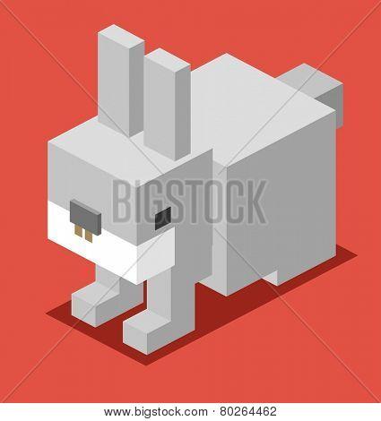 grey bunny. 3d flat isometric vector poster