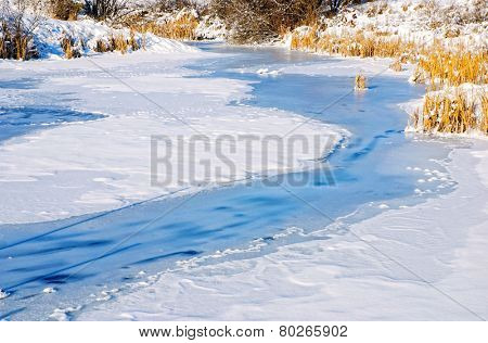Pond covered in snow and ice