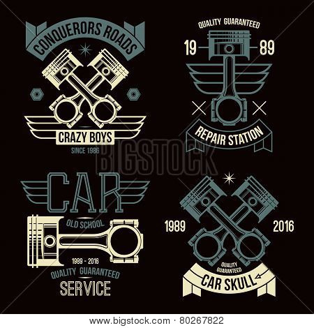Car Engine Piston Emblems