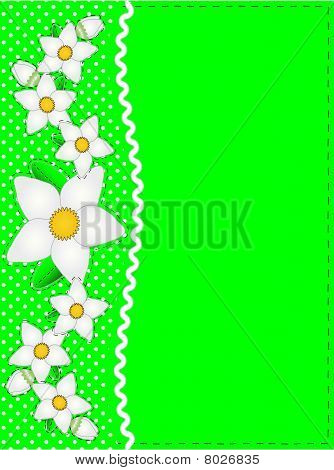 Vector Eps 10 Green Copy Space, Polka Dots, Ric Rac and White Flowers