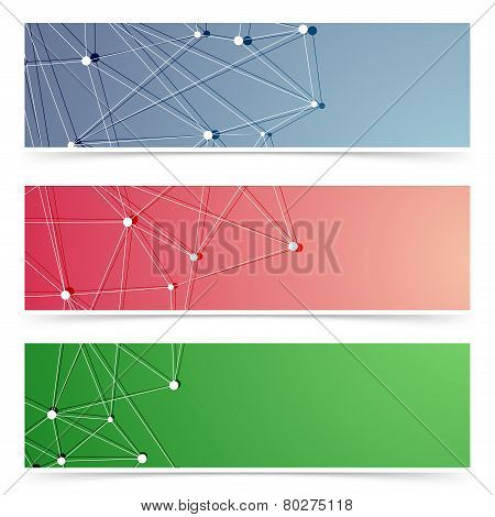 Molecular web header footer collection. Vector illustration poster