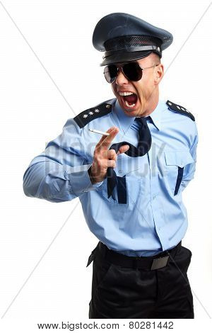 Angry policeman with cigarette