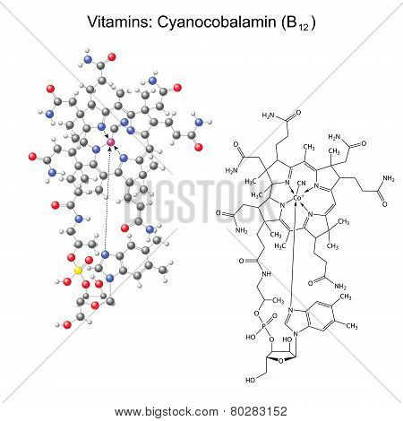 Structural Chemical Formula And Model Of Vitamin B12