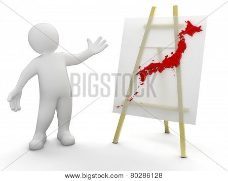 Man and Japanese map (clipping path included)