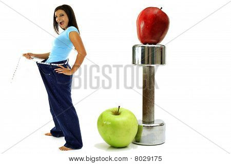 Weight Loss Workout Apples Brunette In Jeans