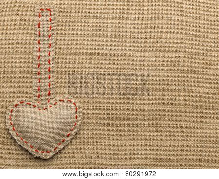 Heart Shape Sackcloth. Mended Burlap Background. Valentine Day Or Wedding Love Concept