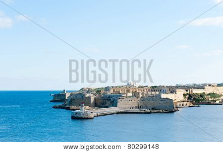Ricasoli Grand Harbour East Breakwater and red lighthouse poster