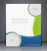 Layout business brochure magazine cover or corporate design template advertisment in green color with blue poster