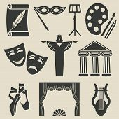 art theater icons set - vector illustration. eps 8 poster
