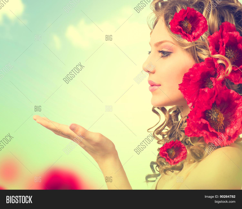 Beauty Girl Red Poppy Image Photo Free Trial Bigstock