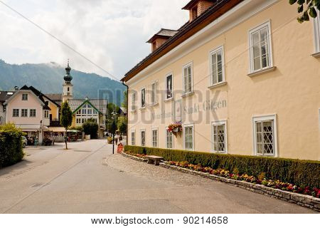 Mozarthouse And A Street In St. Gilgen