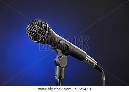Microphone Isolated On Blue