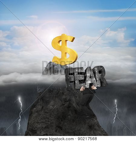 Man Carrying Fear Toward Dollar Sign Peak With Sunny Stormy