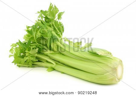 fresh celery stems on a white background poster