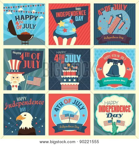 A vector illustration of Fourth of July Independence Day icon sets poster
