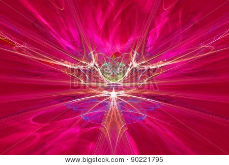 Mysterious alien form magnetic fields in the red sky. Fractal art graphics. poster