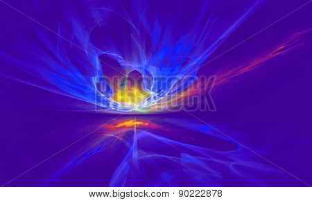 Mysterious magnetic fields in the blue sky. Fractal art graphics