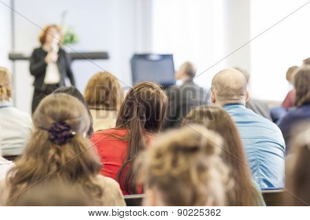 People on the Conference Listening to the Lecturer. Back View. Horizontal Image Composition poster