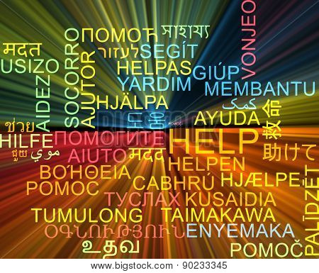Background concept wordcloud multilanguage international many language illustration of help glowing light