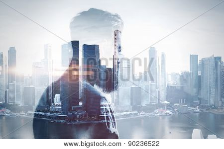 double exposure of brutal man and city on the background poster