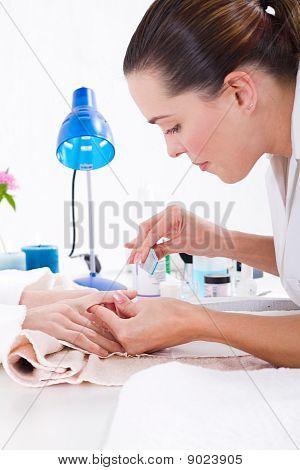 manicurist at work