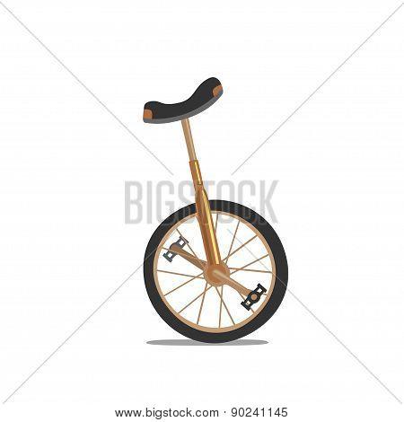 Unicycle, One Wheel Bicycle, Cartoon Flat Style Vectror Illustration.