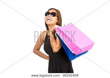 Happy Asian Female Shopper Bags Laughing Isolated