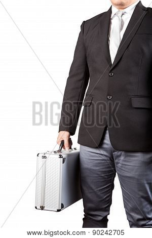 Young Business Man Holding Stong Metal Suitcase Isolated White Background