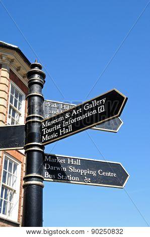 Tourist Information Signpost, Shrewsbury.