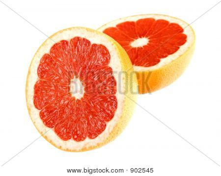 Grapefruit On White With Path