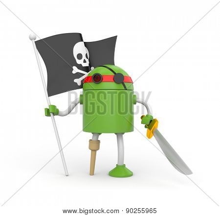 Green robot pirate with a wooden leg, sword and a flag with Jolly Roger