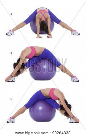 Step by step instructions: Fit woman doing stretching exercise on a swiss ball: in front (A) and laterals (B C) poster