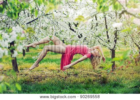 Romantic levitating blonde beauty