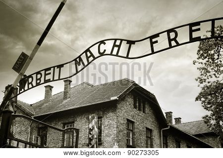Entrance to the Auschwitz concentration camp poster