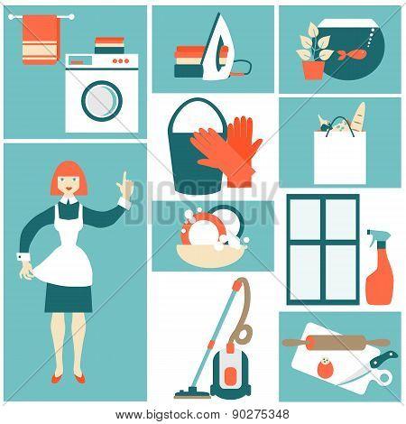 House work concept vector illustration.