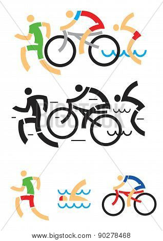 Icons symbolizing triathlon, swimming, running and cycling. Vector illustration. poster