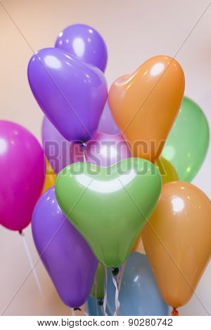 Colorful Balloons on Light Gray Background